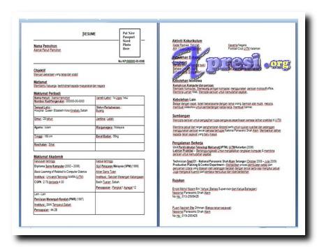 cara membuat resume dan contoh resume temuduga