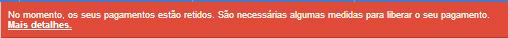 Aviso de pagamentos retidos do AdSense