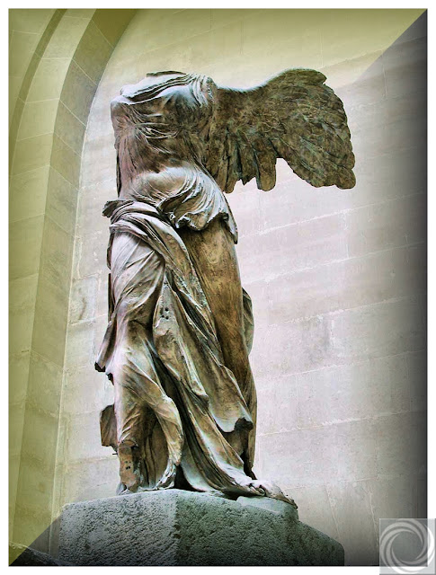 The Winged Victory of Samothraceis in the Louvre