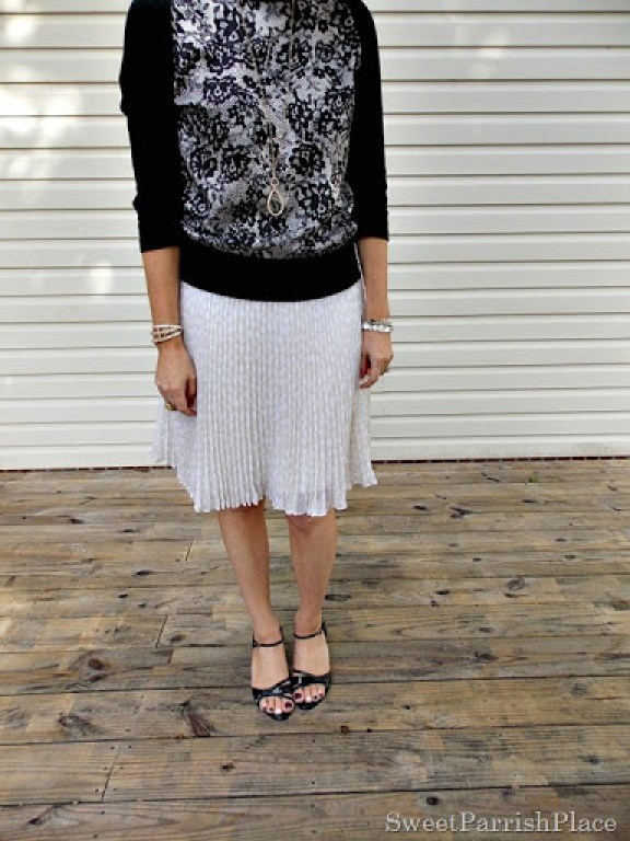 cream chiffom pleated skirt, lace front sweater, black sandals3