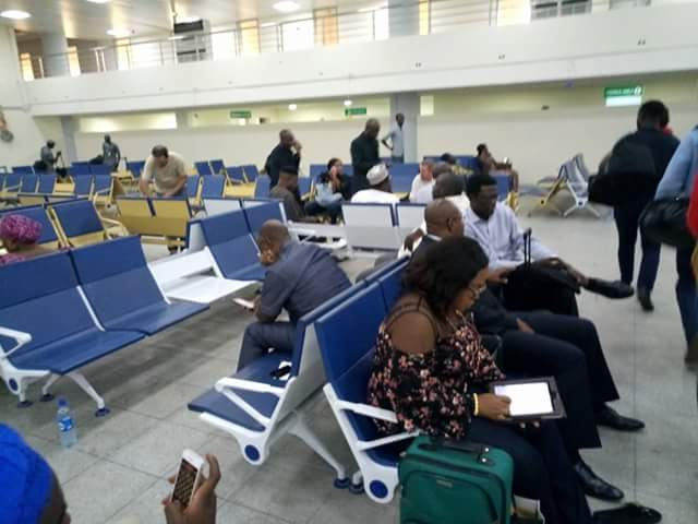 Photos of Amaechi using ordinary lounge of airport