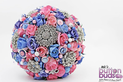 Button and brooch bouquet A pink and blue combination
