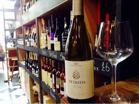 Bottle of Petritis wine in wine shop