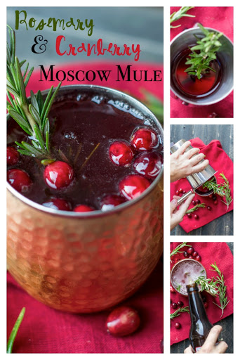 Shake up a rosemary and cranberry Moscow Mule for your next holiday party. You'll love this easy drink recipe. Easy to serve cocktail or mocktail with a festive flair!