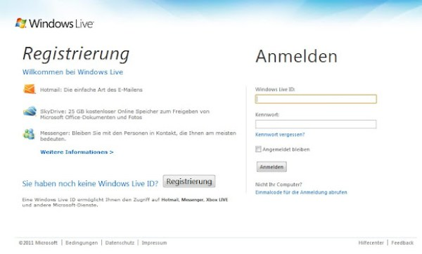 Windows Live-Anmeldeseite