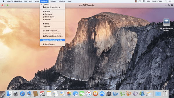 10 Go to Actions Menu to install Parallels Tools