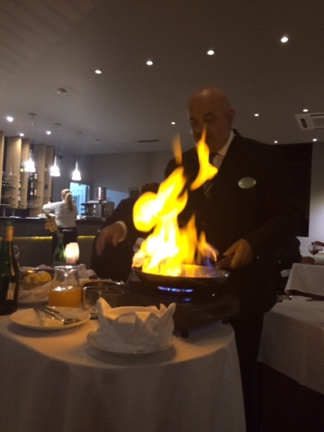 Crepe Suzette in flame