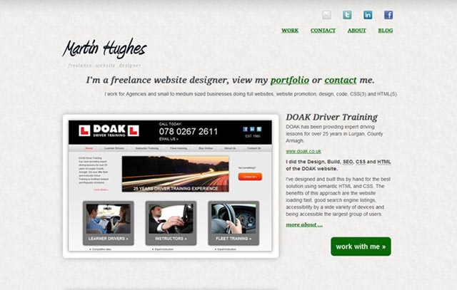 Martin Hughes Freelance Webdesign Portfolio