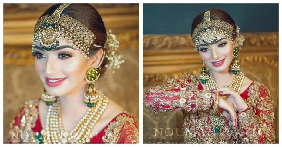 Nawal Saeed Aesthetic Bridal Photoshoot in Red Lehenga