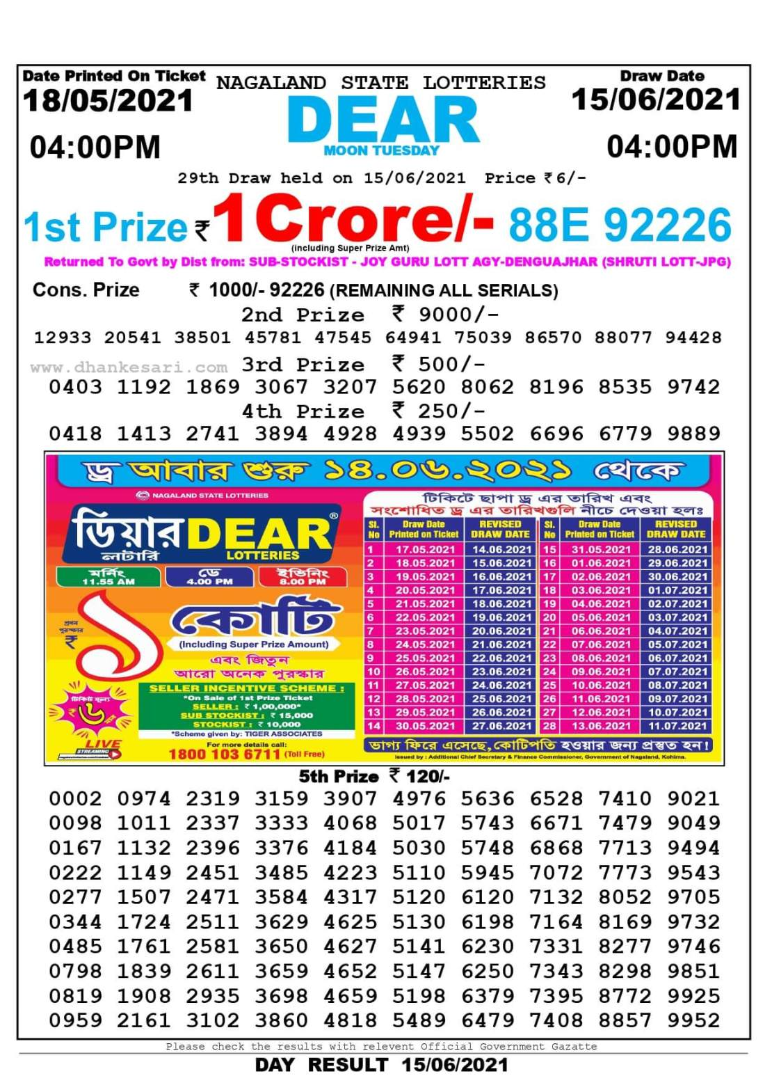 Nagaland State Lottery Result Today 4:00 PM 15.6.2021