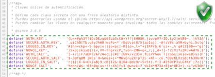 Copia y pega todo el bloque de código en wp-config.php