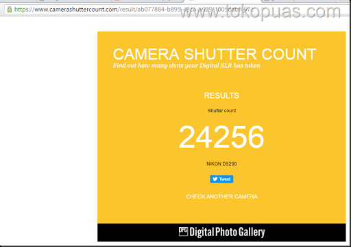 hasil shuttercount dslr camera