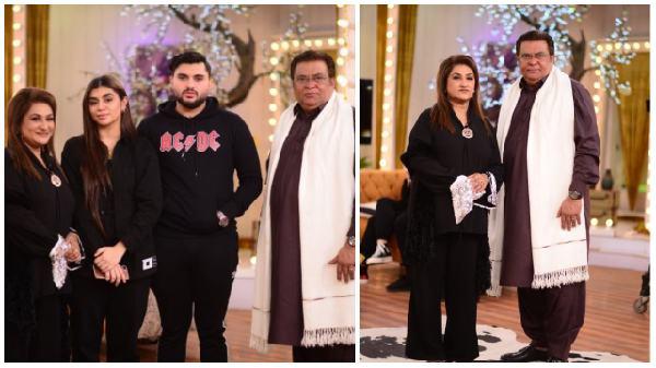 Legendary Actor Shabbir Jan with his family at Good Morning Pakistan Show