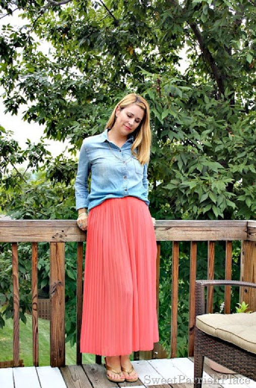 coral-pleated-skirt-chambray-shirt2