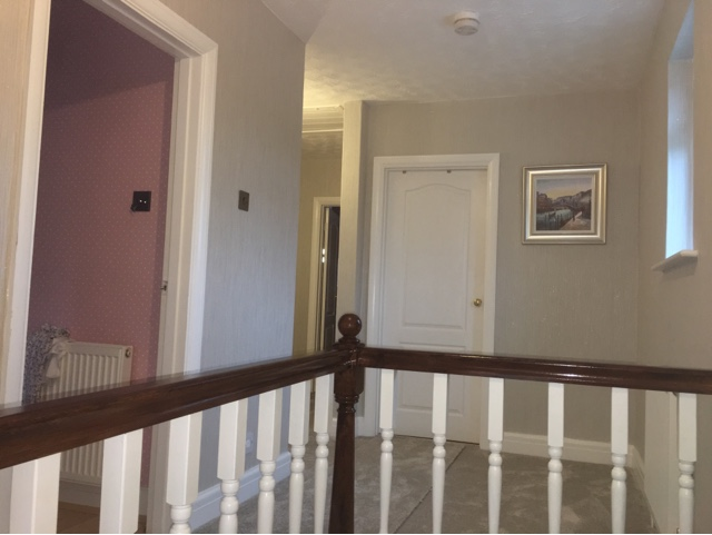 Decorating a hall landing and stairs diy daddy - How to wallpaper stairs and landing ...