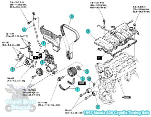 1997 Mazda 626 Capella Timing Belt Parts Assembly Diagram