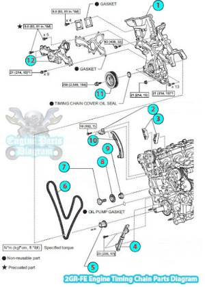 2006 Toyota RAV4 Timing Chain Parts Diagram (2GRFE Engine)