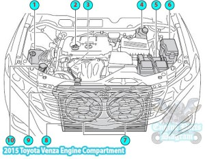 2015 Toyota Venza Engine Compartment Parts Diagram (1ARFE)