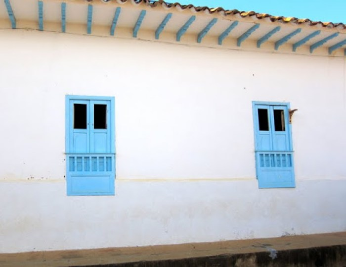 Shuttered windows of Barichara, Colombia