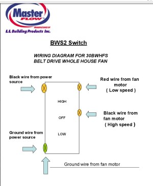 Masterflow House Fan BWS2 Switch Wiring Diagram for
