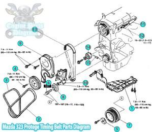 1992 Mazda 323 Protege Timing Belt Parts Diagram (B6 Engine)