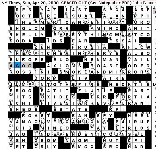Rex Parker Does the NYT Crossword Puzzle: SUNDAY, Apr. 20 ...