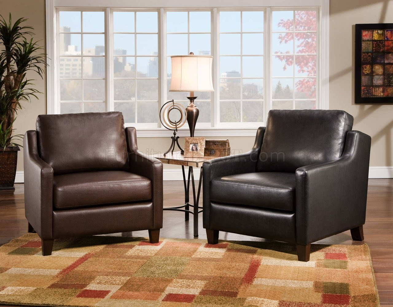 Chair Black Leather Accent Chair