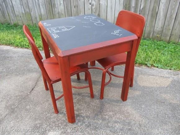 Kids Chalkboard table & chairs (12)