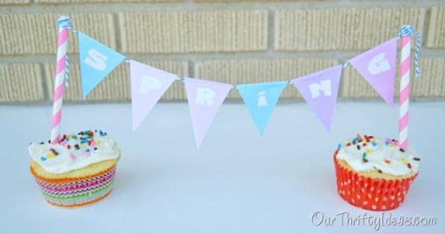 "cute ""spring"" banner to spruce up cupcakes or a cake. Free printable of the banner too."