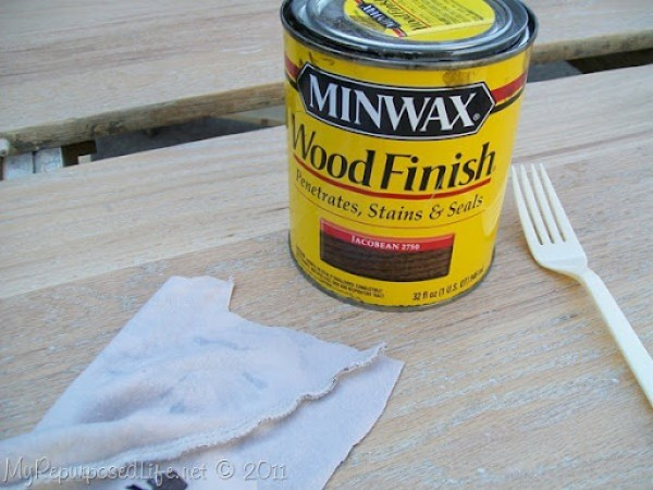 I stained the table top with Jacobean from Minwax