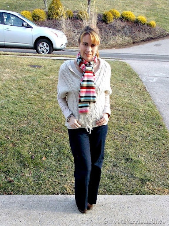 trouser jeans, booties with neutrals top and colorful scarf5
