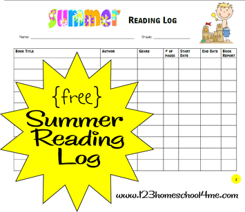 free printable summer reading log