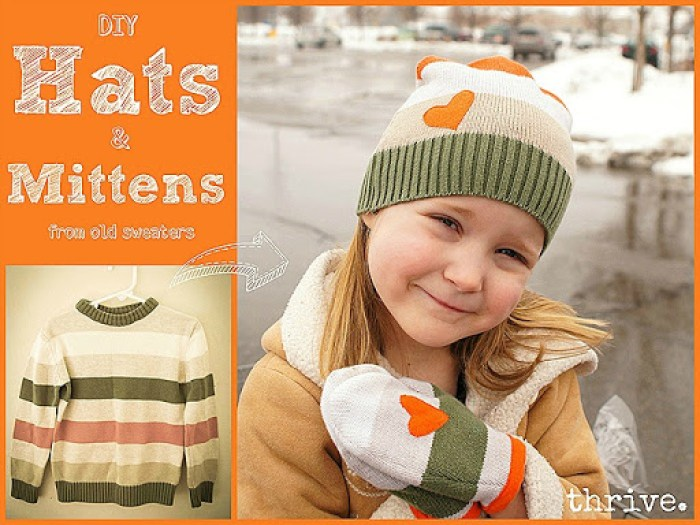 Make Hats & Mittens from old sweaters - choosetothrive.blogspot.com