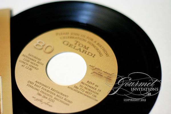 Record Wedding Invitations: 45RPM Record Album 80th Birthday Party Invitations