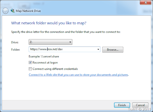Selection drive name and network path