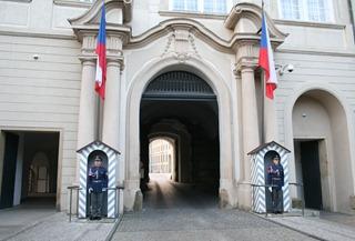 guarding the entrance to Prague Castle