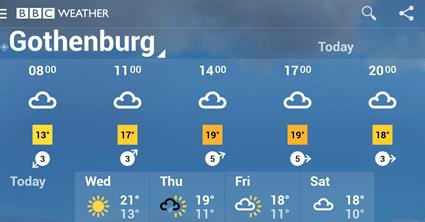 BBC Weather forecast for Gothenburg