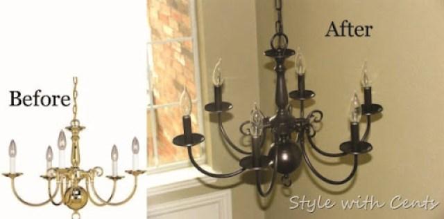 Rustoleum Oil Rubbed Bronze Spray Paint Chandelier Before After