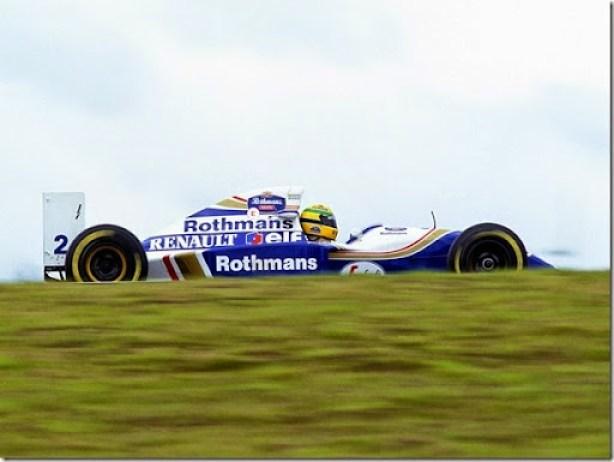 1994 Brazilian Grand Prix.Interlagos, Sao Paulo, Brazil.  25-27 March 1994.Ayrton Senna (Williams FW16 Renault). Whilst pushing hard to try and catch Michael Schumacher he spun and stalled. Ref-94 BRA 14.World Copyright - LAT Photographic