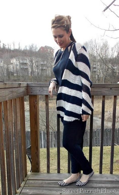navy maxi dress, striped cardigan2
