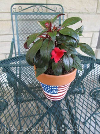 Plaid Paint flower pot