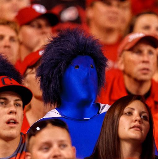 BYU fan at Rice-Eccles Stadium, BYU vs. Utah football, 2012