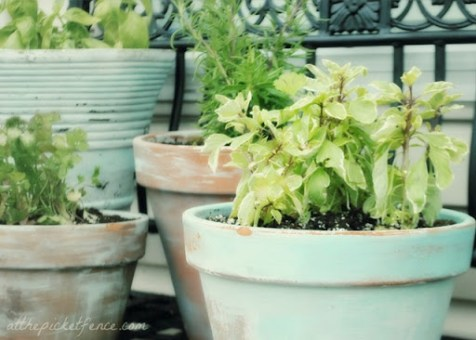 Clay Pots Painted Clay Flower Pots Antique Look Green with Plants