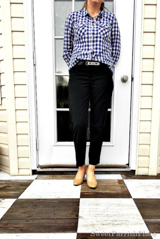 blue gingham, black pants, nude pumps2
