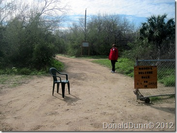 Kay at entrance to Salineno, Texas, birding park