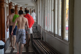 we find our way to our little rented cabin inside the Szechenyi Baths