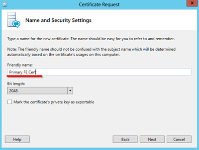 name and security settings