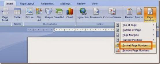 pengaturan format nomer halaman
