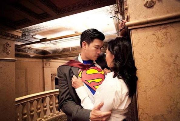 Engagement shoot Superman theme by Joy Marie Photography