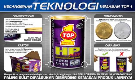 Teknologi kemasan TOP 1 Oli Sintetik Mobil-Motor Indonesia